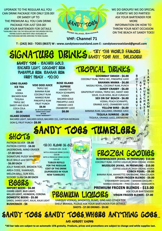 drink menu sandy toes rose island