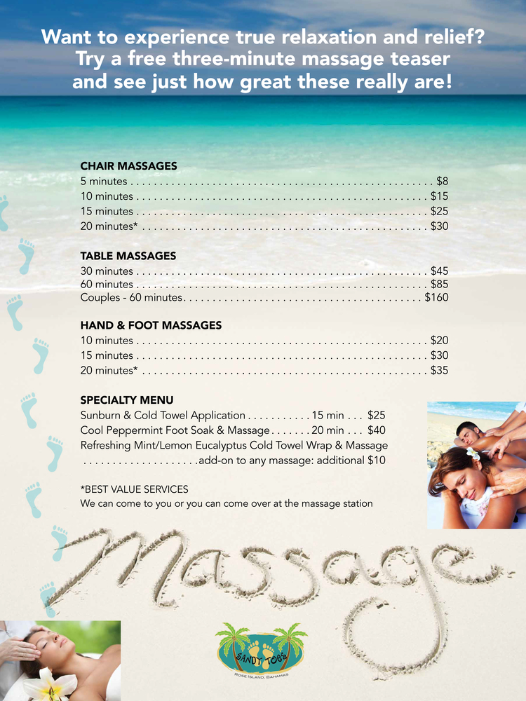 sandy toes massage on the beach