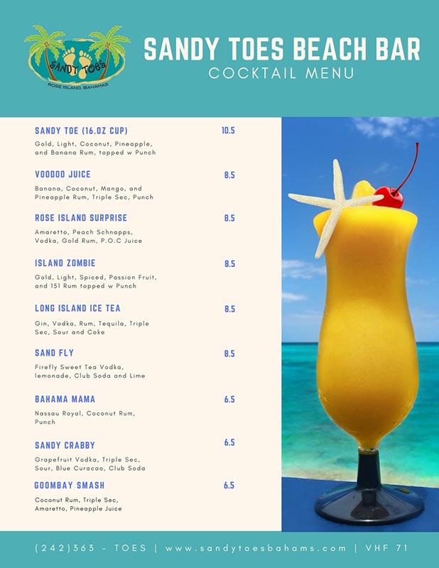 Beach Bar Drink Menu